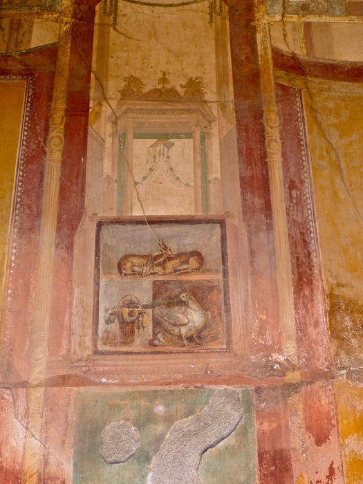 Casa Dei Dioscuri Antelopes and Still Life in Situ North Wall 4
