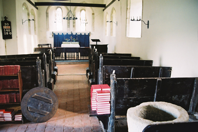St Andrew\\\'s Interior with Saxon Font